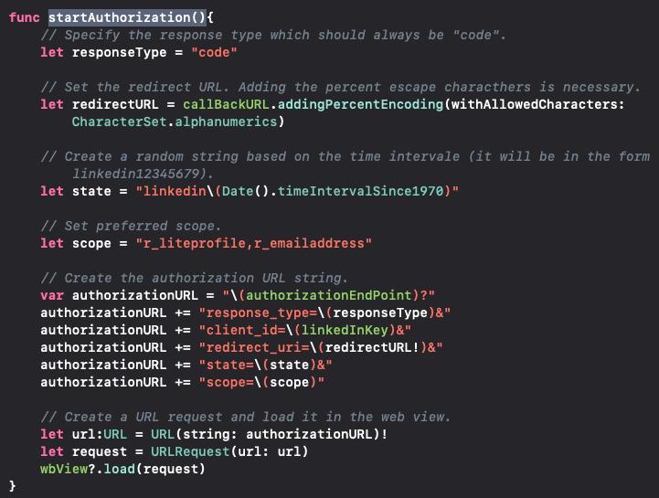 Coding of startAuthorization()