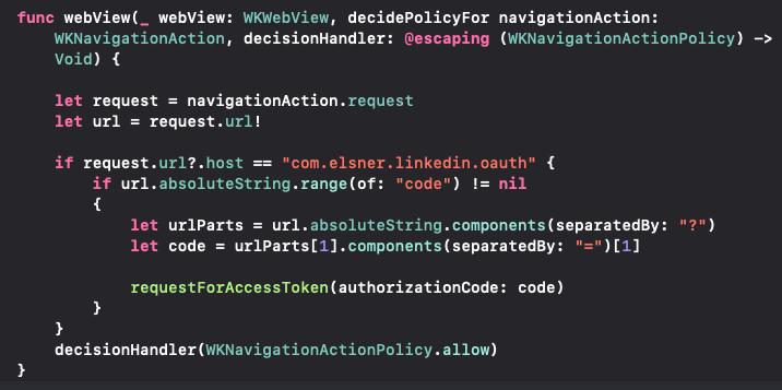 Coding of WKNavigationDelegate's decidePolicyFor navigationAction()