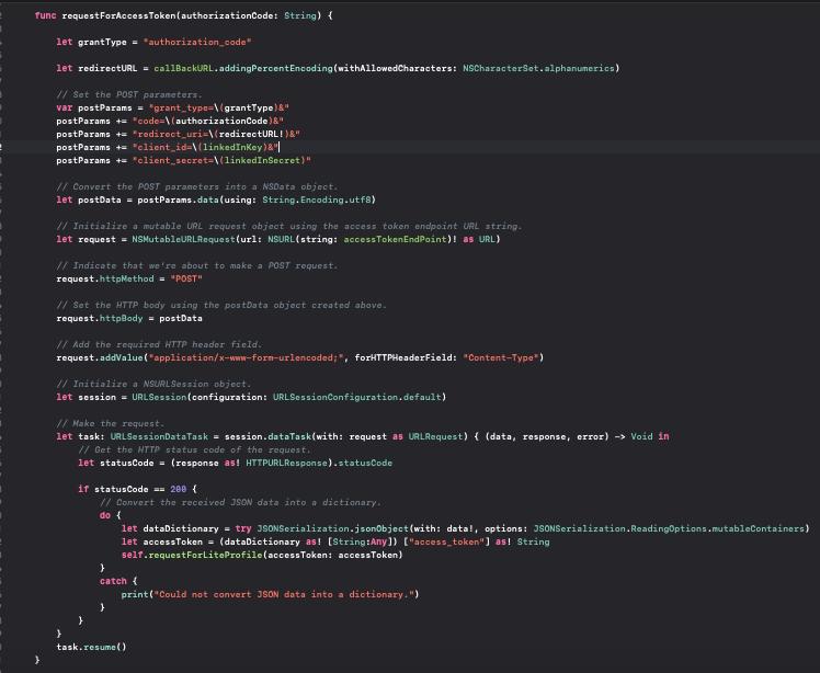 Coding of requestForAccessToken()
